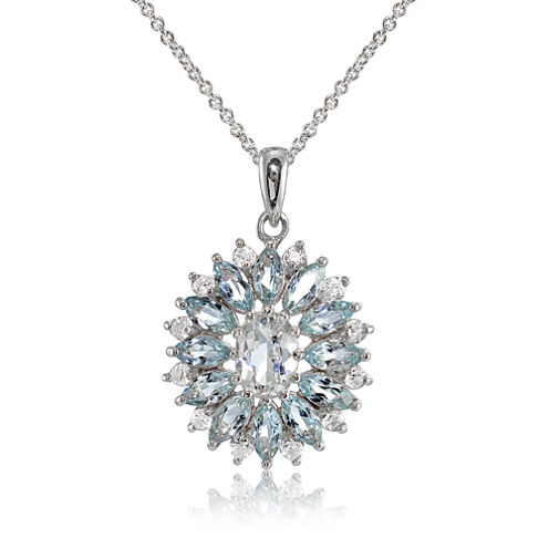 Fine Jewelery Womens Blue Topaz Sterling Silver Pendant Necklace