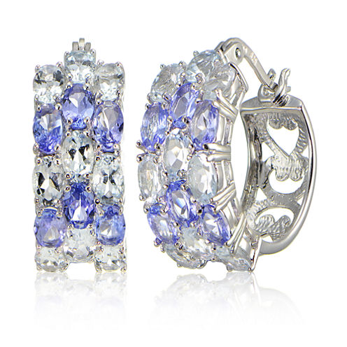 Fine Jewelery Blue Aquamarine Sterling Silver Hoop Earrings
