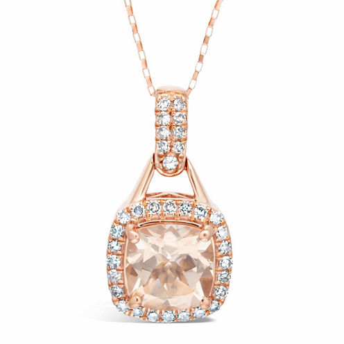 Womens 1/5 CT. T.W. Champagne Morganite 10K Gold Pendant Necklace