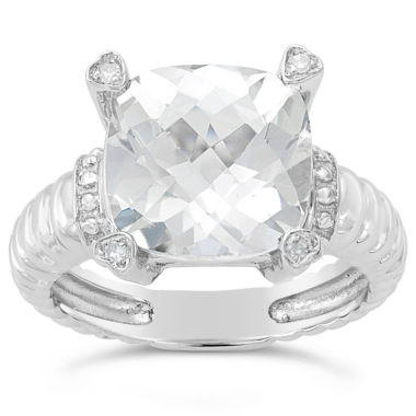 jcpenney.com | Womens Diamond Accent White Topaz Sterling Silver Cocktail Ring