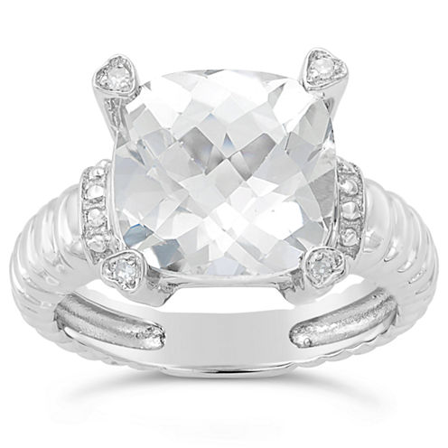 Womens Diamond Accent White Topaz Sterling Silver Cocktail Ring