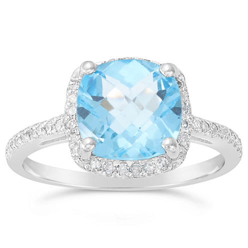 Womens 1/6 CT. T.W. Blue Topaz Sterling Silver Halo Ring