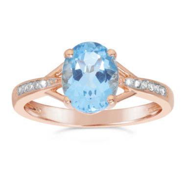 jcpenney.com | Womens Diamond Accent Blue Topaz Gold Over Silver Cocktail Ring