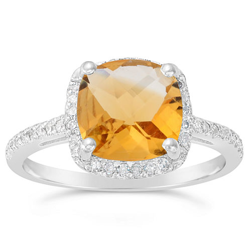 Womens 1/6 CT. T.W. Yellow Citrine Sterling Silver Halo Ring