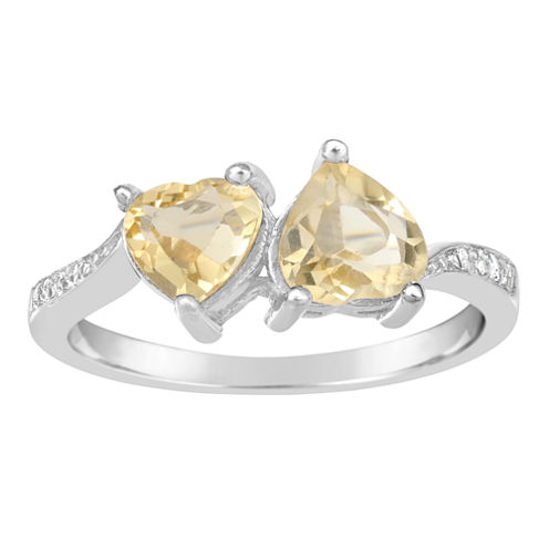 Womens Yellow Citrine Sterling Silver Bypass Ring