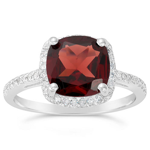 Womens 1/6 CT. T.W. Genuine Red Garnet Sterling Silver Halo Ring