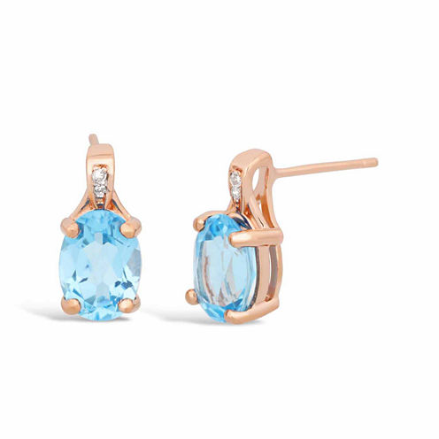 Diamond Accent Blue Topaz Drop Earrings