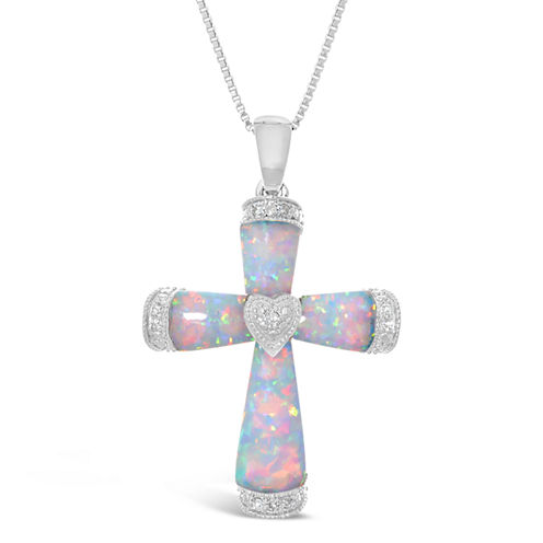 Womens Diamond Accent White Opal Sterling Silver Pendant Necklace