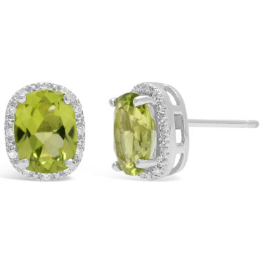 jcpenney.com | Diamond Accent Cushion Green Peridot Sterling Silver Stud Earrings