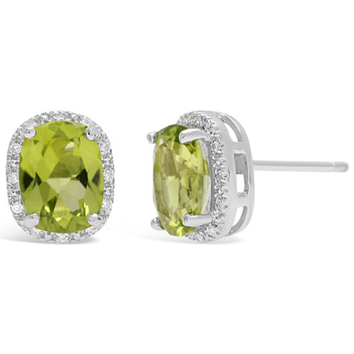 Diamond Accent Cushion Green Peridot Sterling Silver Stud Earrings