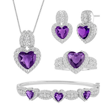 jcpenney.com | Lab-Created Amethyst & Cubic Zirconia Silver over Brass Heart 4-pc. Boxed Jewelry Set