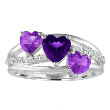 jcpenney.com | Genuine Amethyst & White Sapphire Sterling Silver Triple Heart Ring