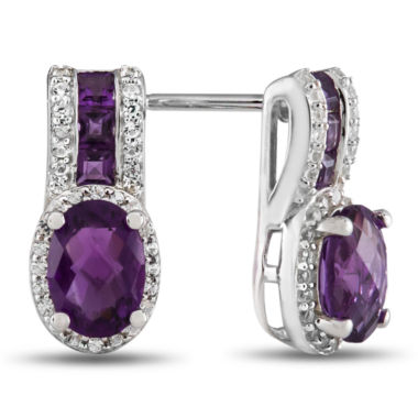 jcpenney.com | Genuine Amethyst & Lab-Created White Sapphire Sterling Silver Drop Earrings