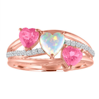 jcpenney.com | Lab-Created Opal and Pink & White Sapphire 14K Gold over Silver Triple Heart Ring