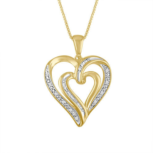 Womens 1/10 CT. T.W. White Diamond 14K Gold Over Silver Pendant Necklace