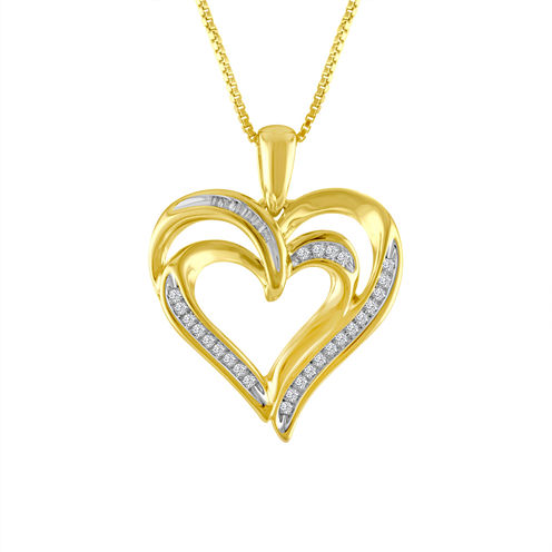 Womens 1/10 CT. T.W. White Diamond Gold Over Silver Pendant Necklace