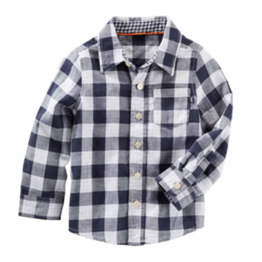 jcpenney.com | Oshkosh Boys Long Sleeve Navy Check T-Shirt-Toddler