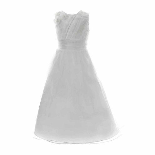 Keepsake Pleated Bodice Floral Applique Communion Dress - Girls' 6X-14 and Plus