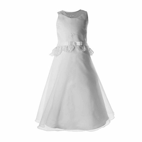 Keepsake Sleeveless Organza Lace Peplum Flower Girl Dress - Girls' 6X-12