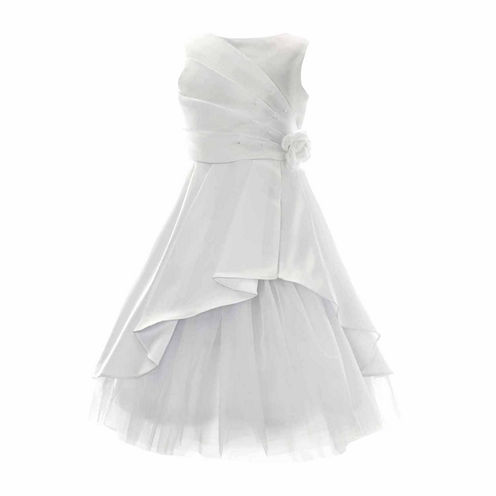 Keepsake Sleeveless Satin Communion Dress with Tulle Underlay - Girls' 6X-12