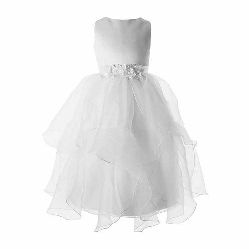 Keepsake Petal Organza Communion Dress with Floral Waistband - Girls 6X-12