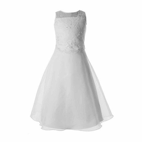 Keepsake Sleeveless Beaded Illusion Neck Communion Dress - Girls 6X-12