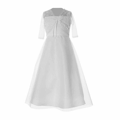 Keepsake Empire Waist Communion Dress With Tulle Jacket- Girls' 6X-12