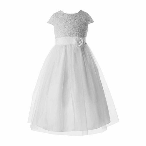 Keepsake Sparkle Lace Bodice Ballerina Communion Dress - Girls 6X-14 and Plus