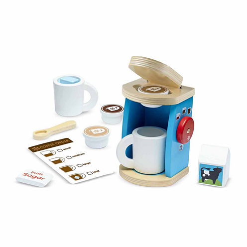 Melissa And Doug 11-Pc. Play Wooden Brew  Serve Coffee Set Food