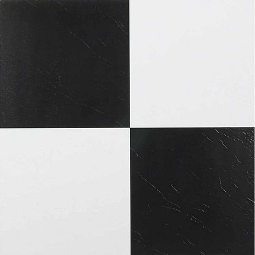 Nexus Black & White 12x12 Self Adhesive Vinyl Floor Tile - 20 Tiles/20 Sq Ft.