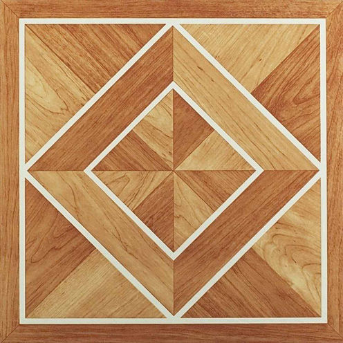 Nexus White Border Classic Inlaid Parquet 12x12 Self Adhesive Vinyl Floor Tile - 20 Tiles/20 Sq Ft.