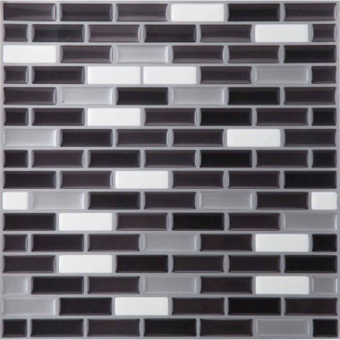 jcpenney.com | Magic Gel Silver/Black 9.125x9.125 Self Adhesive Vinyl Wall Tile - 6 Tiles/20.82 Sq Ft.