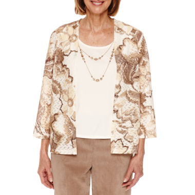 jcpenney.com | Alfred Dunner Twilight Point 3/4 Sleeve Layered Top - Petites