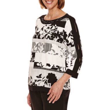 jcpenney.com | Alfred Dunner Theatre District 3/4 Sleeve Stripe Floral Tee