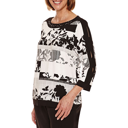 Alfred Dunner Theatre District 3/4 Sleeve Stripe Floral Tee