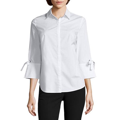 Worthington 3/4 Bell Tie Sleeve Button-Front Shirt-Petites