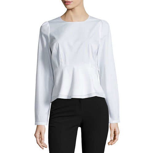 Worthington Long Sleeve Peplum Shirting Top Petites
