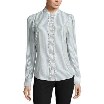 Worthington Long Sleeve Button-Front Shirt-Petites