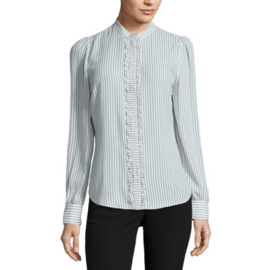 jcpenney.com | Worthington Long Sleeve Button-Front Shirt-Petites