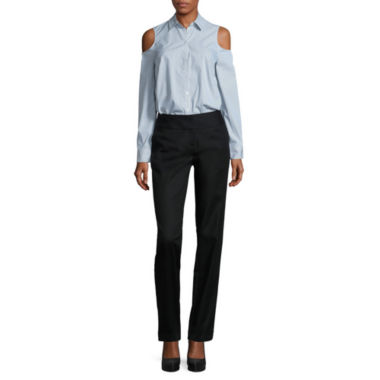 jcpenney.com | Worthington Long Sleeve Cold Shoulder Button Front Shirt and Wide Waistband Slim Pant