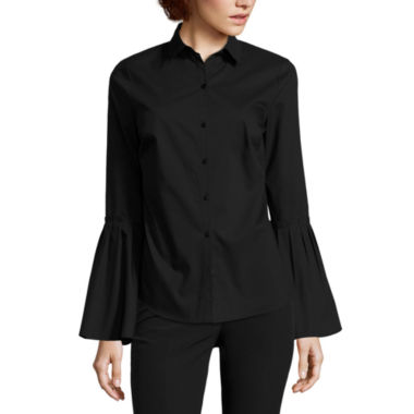 jcpenney.com | Worthington Long Flare Sleeve Button-Front Shirt-Petites