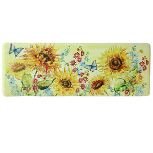 Bacova Guild Watercolor Sunflowers Printed Rectangular Anti-Fatigue Rugs