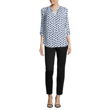 jcpenney.com | Liz Claiborne 3/4 Sleeve V Neck Woven Blouse and Emma Fit Suiting Ankle Pant