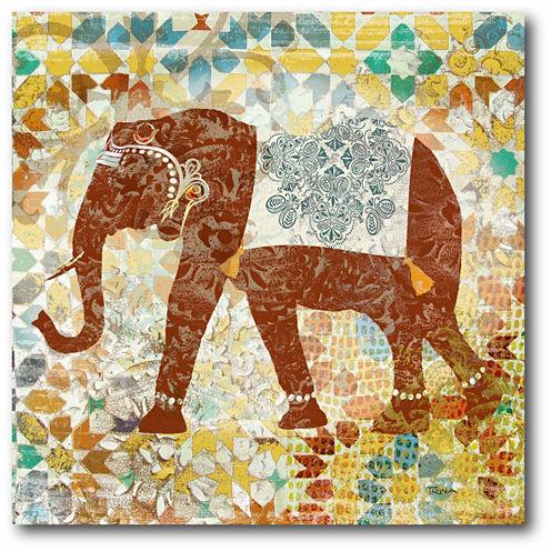 Global Elephant Canvas Wall Art