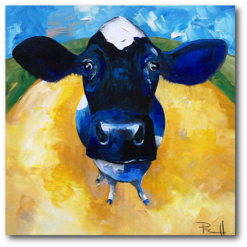 Blue Cow Canvas Wall Art