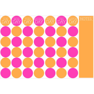 jcpenney.com | Wall Pops 36 in. x 24 in. Bubblegum Monthly Calendar Message Board Wall Decal