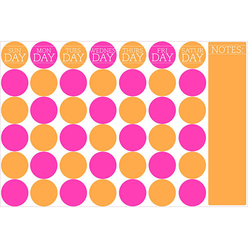 Wall Pops 36 in. x 24 in. Bubblegum Monthly Calendar Message Board Wall Decal