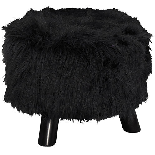 "16"" Wide Black Faux Fur Upholstered Foot Stool"