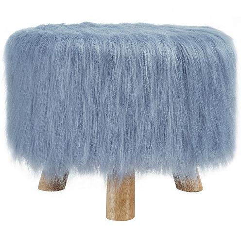 """16"""" Wide Dusty Blue Faux Fur Foot Stool"""
