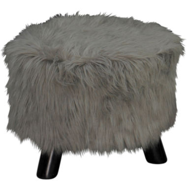 "jcpenney.com | 16"" Wide Harbor Green Faux Fur Foot Stool"